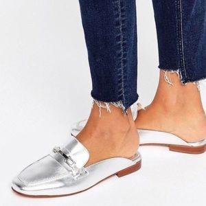 Merona Silver Backless Mule Loafers